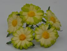 4.5 cm MOSS GREEN IVORY CHRYSANTHEMUM DAISY Mulberry Paper Flowers miniature card wedding